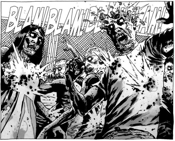 A panel from the wildly successful Walking Dead comic